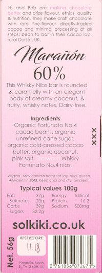 kosak-chocolat-beantobar-solkiki-lait-coco-60-bio-végan-whisky-grué-maranon-pérou